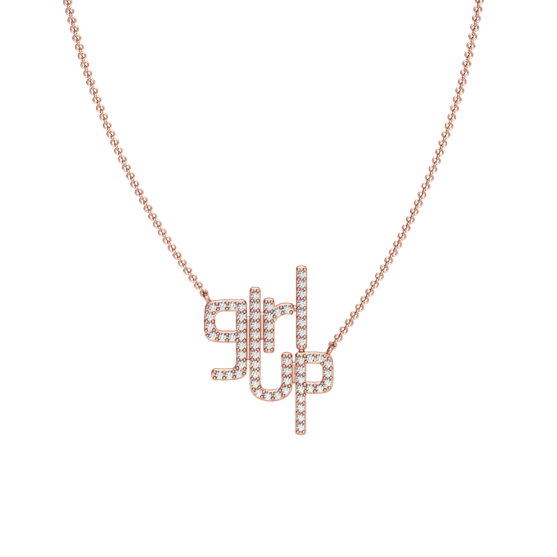 Girl Up Necklace in Rose Gold with Diamonds