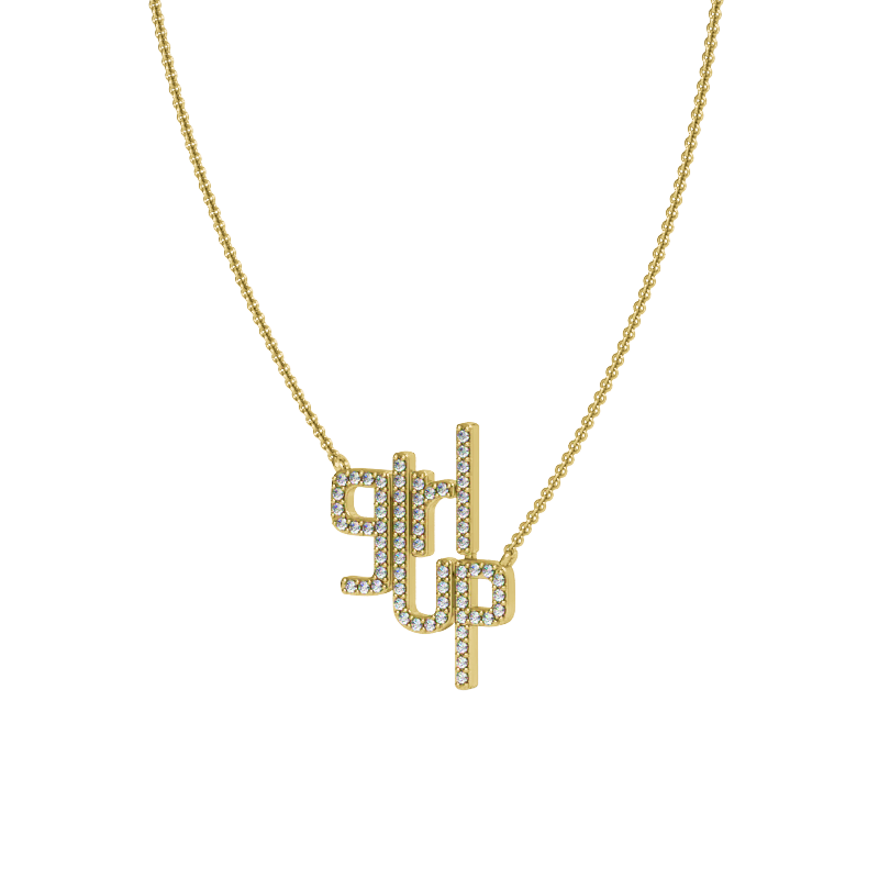 Girl Up Necklace in Yellow Gold with Diamonds