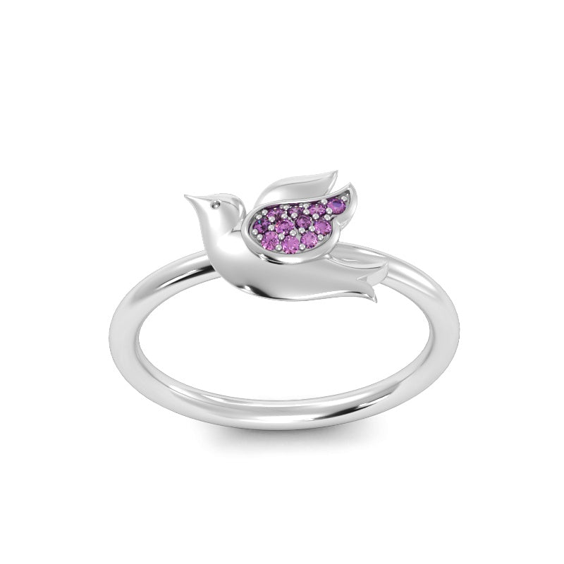 Baby Dove Ring with Pink Sapphires