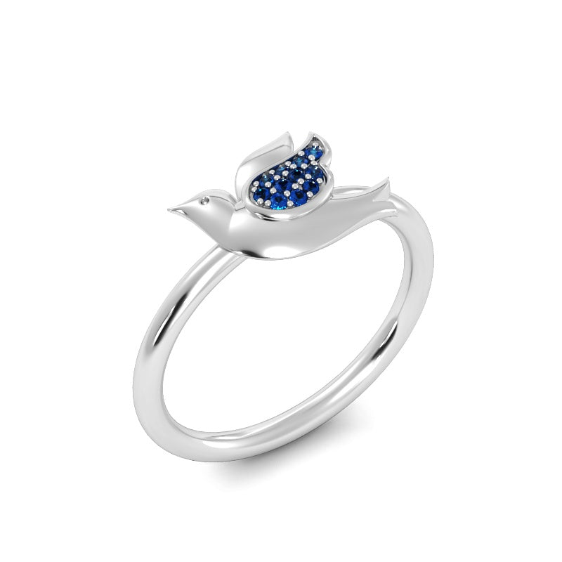 Baby Dove Ring with Blue Sapphires