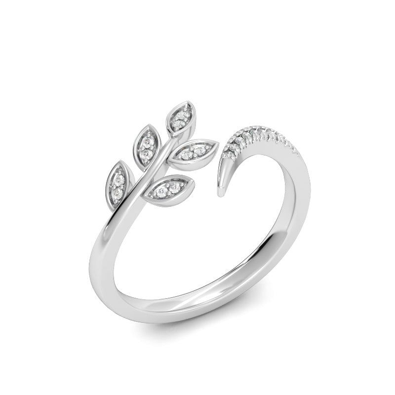Olive Branch Ring with Diamonds