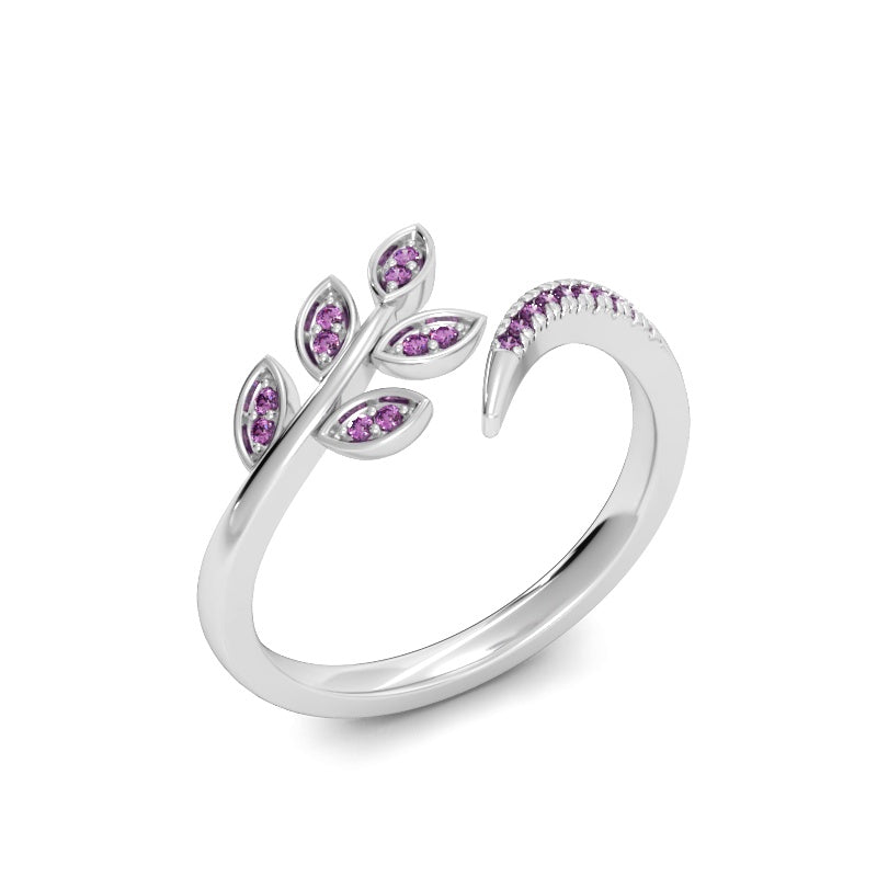 Olive Branch Ring with Pink Sapphires