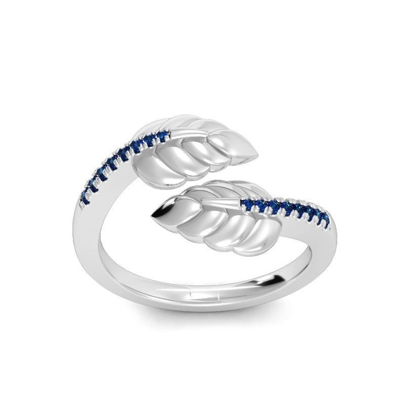 Crossover Leaf Ring with Blue Sapphires