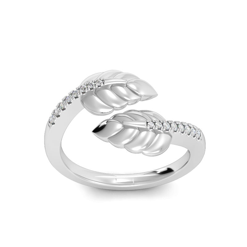 Crossover Leaf Ring with Diamonds