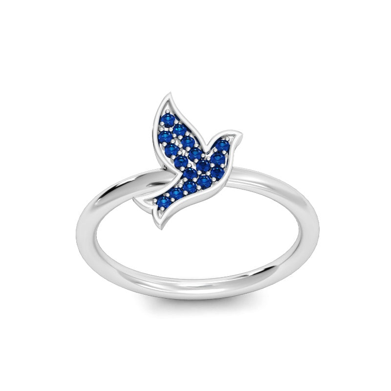 Flying for Peace Ring with Blue Sapphires