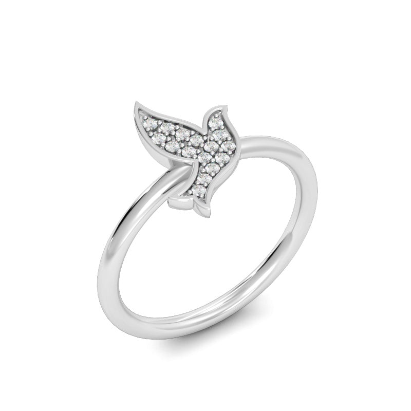 Flying for Peace Ring with Diamonds