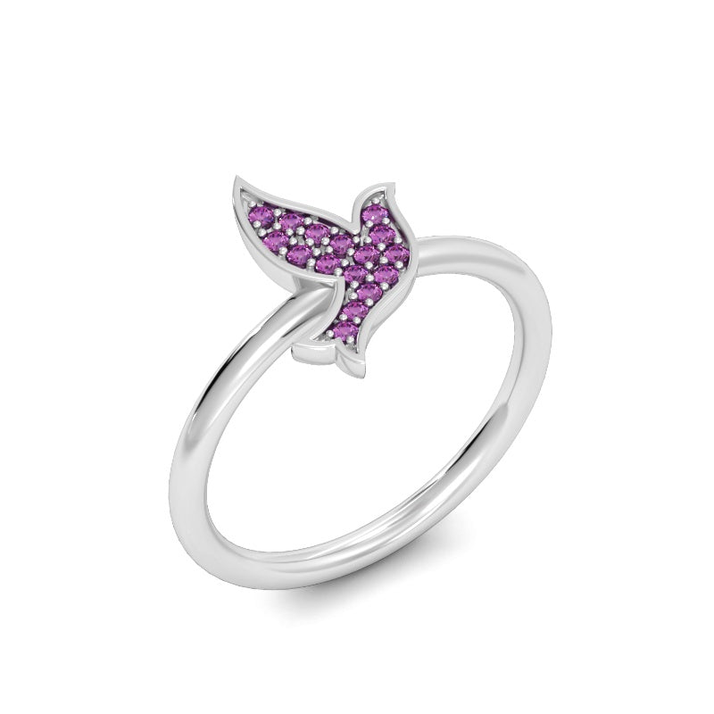 Flying for Peace Ring with Pink Sapphires