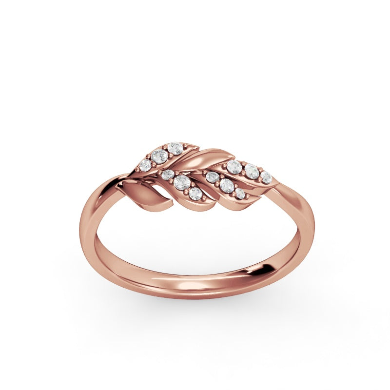 Rose Gold Laurel Leaf Ring with Diamonds