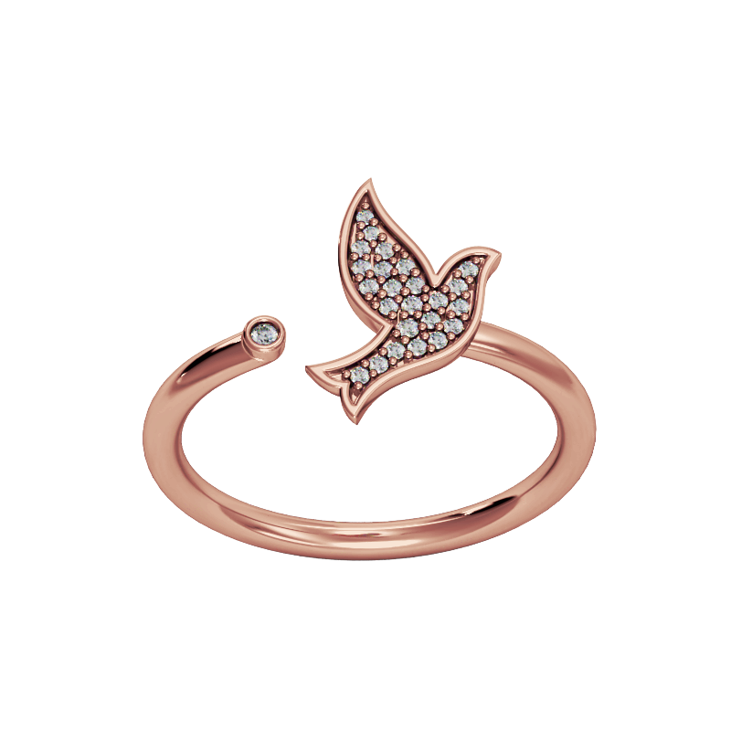 Rose Gold Dove Pave Diamond Ring