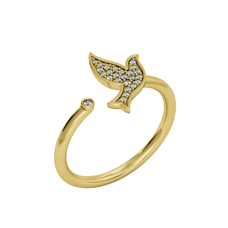 Yellow Gold Dove Pave Diamond Ring