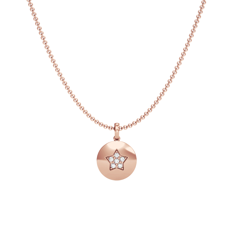 Rose Gold Star Pendant with Diamonds