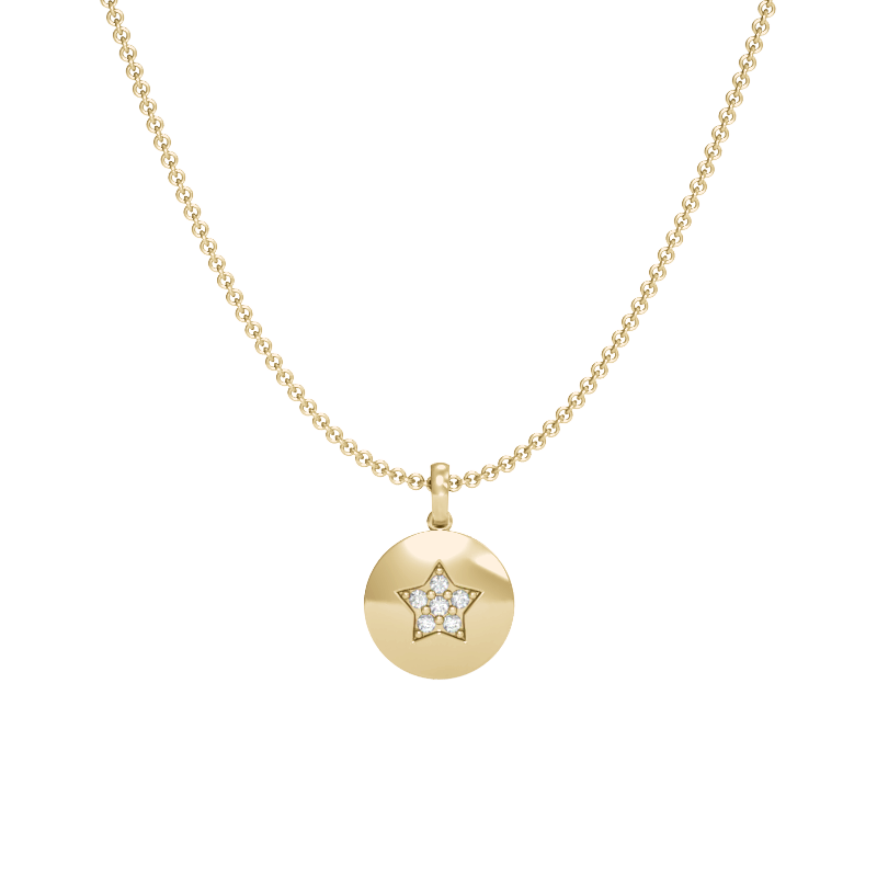 Yellow Gold Star Pendant with Diamonds