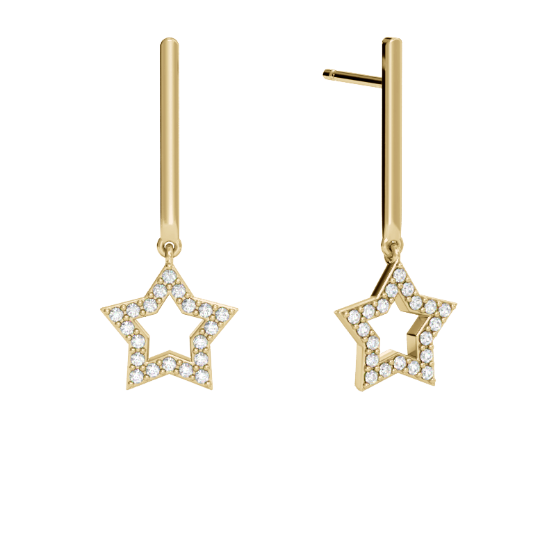 Yellow Gold Star Drop Earrings with Diamonds