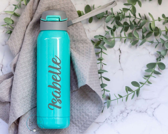 Personalised Stainless Steel Sports Water Bottle with Flip Top and Straw (500ml)