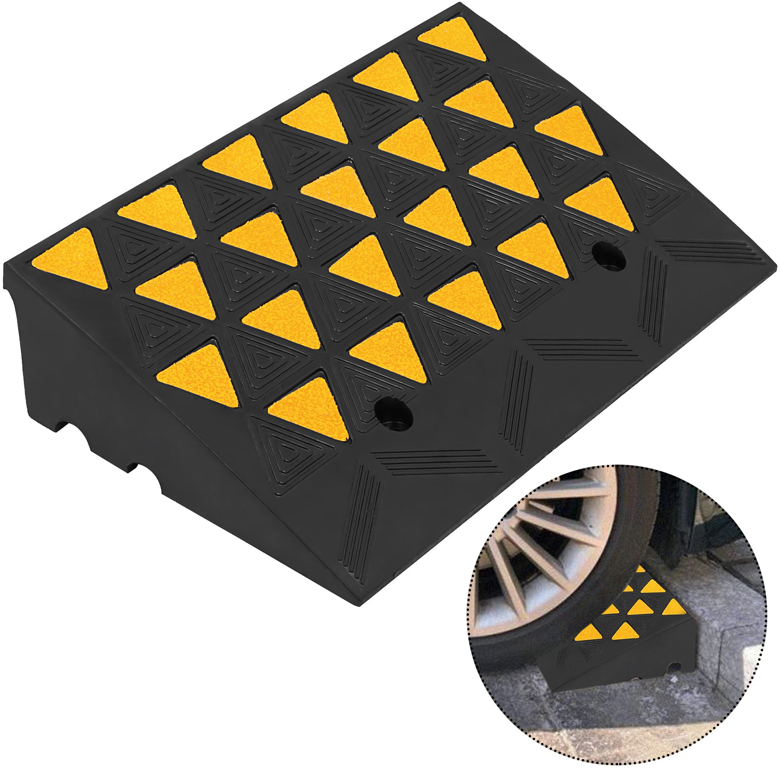 11000lb Rubber Curb Ramp 23.6''x13.8''x6'' Multipurpose Large Capacity Truck