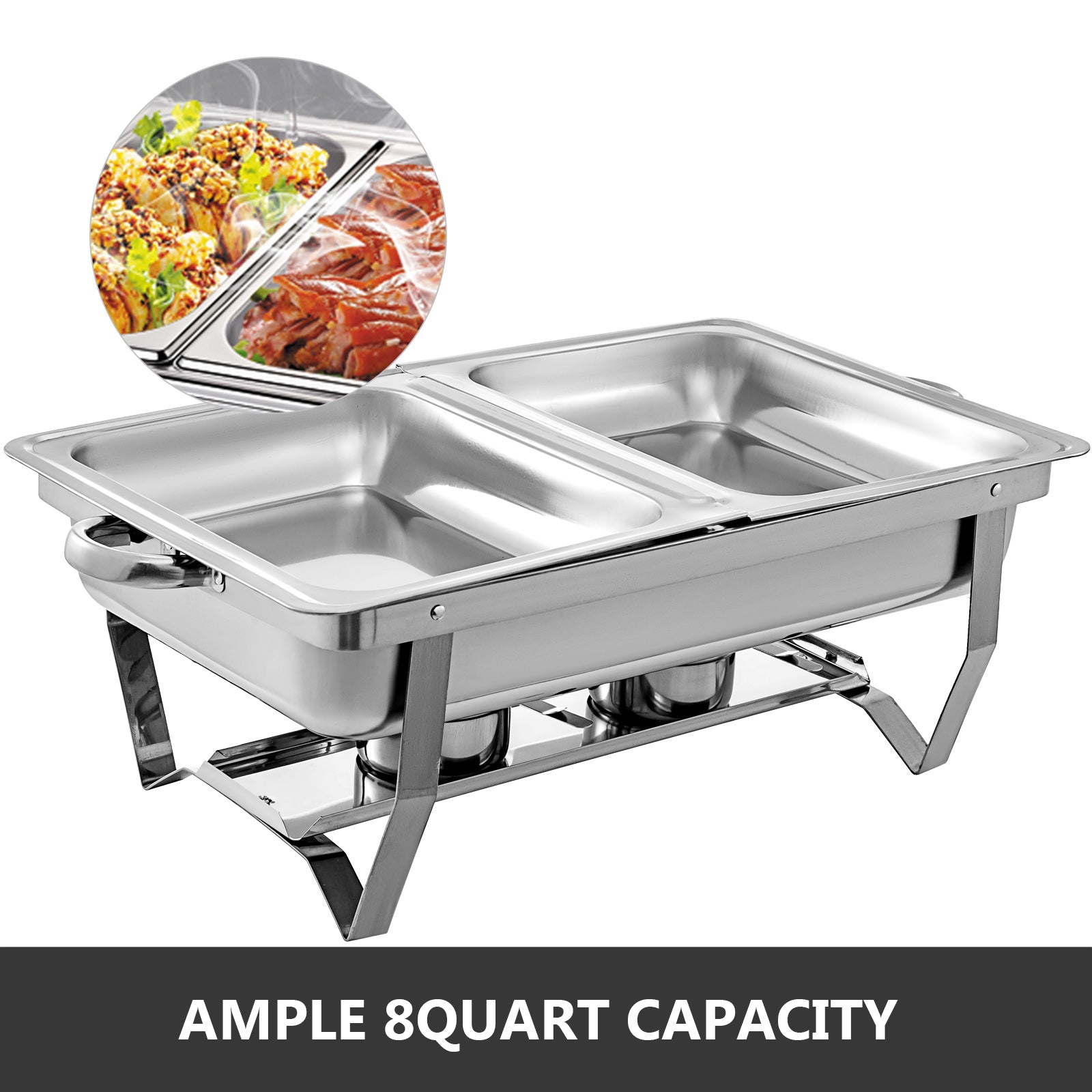 3pcs Chafing Dish Con Tapa Acero Inoxidable Alimentos Calientes