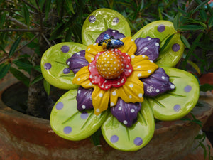 Large Chartreuse Flower w/dragonfly