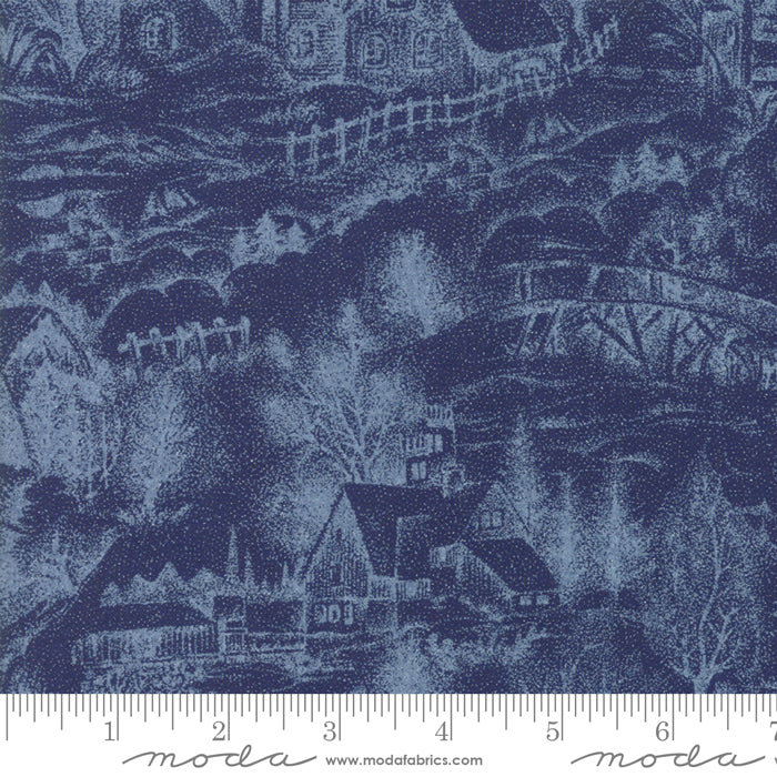 Forest Frost Glitter - Dark Blue Metallic Snowy Village