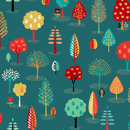 Teal Trees from Folk Friends by Makower