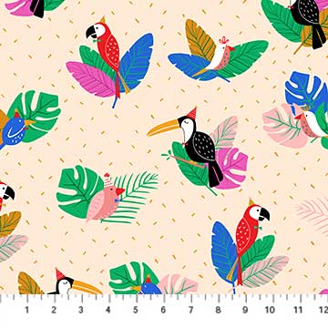 Tropical Jammin Party Birds Natural - Figo Fabrics