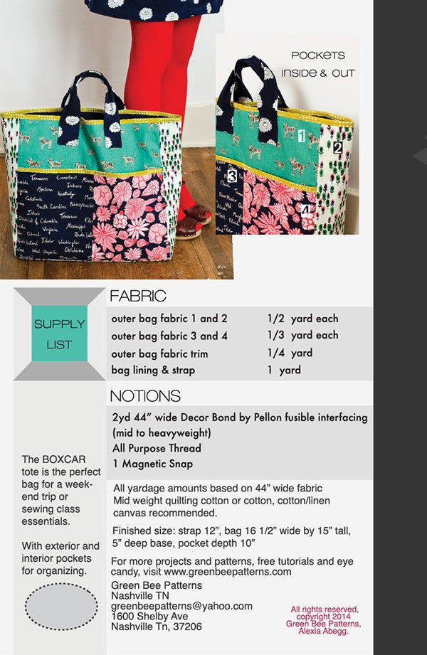 The Boxcar Tote Pattern - Green Bee Patterns