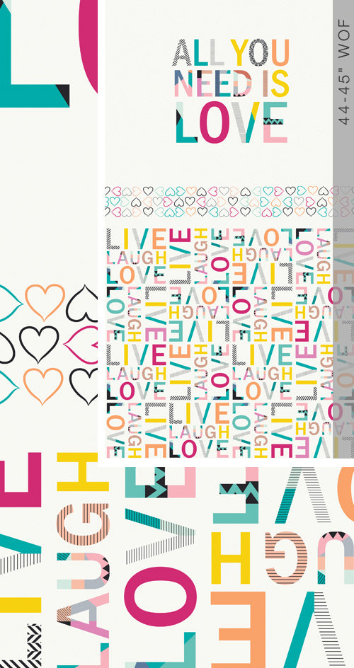All You Need is Love Panel - Capsules Letters - Art Gallery Fabrics