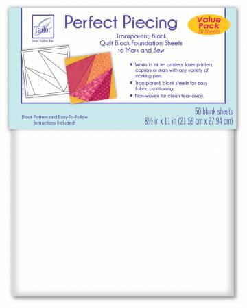 June Tailor Perfect Piecing Quilt Block Foundation Sheets - 50 Sheets