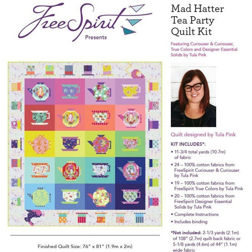 PREORDER - Curiouser & Curiouser Mad Hatter Tea Party Quilt Kit - Tula Pink