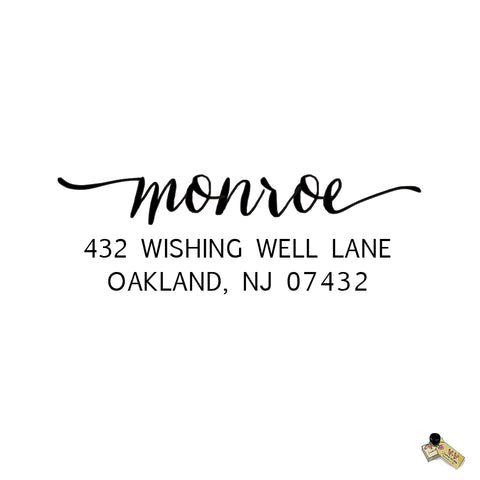 Script Calligraphy Monroe Style Personalized Custom Return Address Rubber Stamp or Self Inking RSVP Envelope Handwriting Stationery Heart Couple