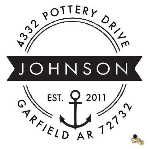 Personalized Custom Return Address Rubber Stamp or Self Inking Stamp Anchor Nautical Beach Name