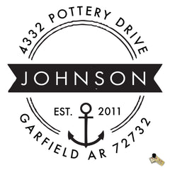 Personalized Custom Return Address Rubber Stamp or Self Inking Stamp Anchor Nautical Beach Name - Britt Lauren Stamps
