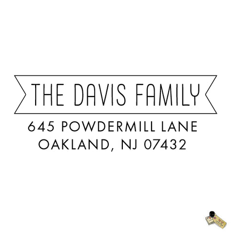 Personalized Custom Return Address Rubber Stamp or Self Inking Stamp Names Banner