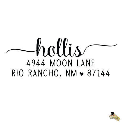 Script Calligraphy Hollis Style Personalized Custom Return Address Rubber Stamp or Self Inking RSVP Envelope Handwriting Stationery Heart Couple