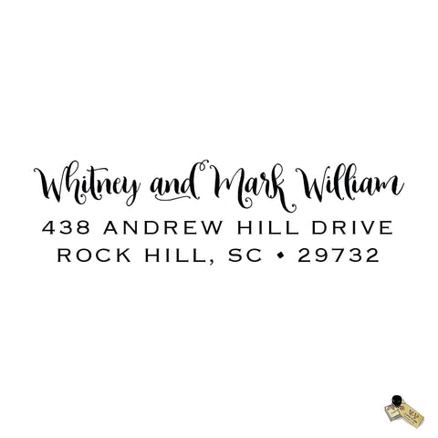 Script Calligraphy William Style Personalized Custom Return Address Rubber Stamp or Self Inking RSVP Envelope Handwriting Stationery Couple