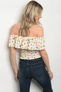 Top Off Shoulder estampado de Frutas