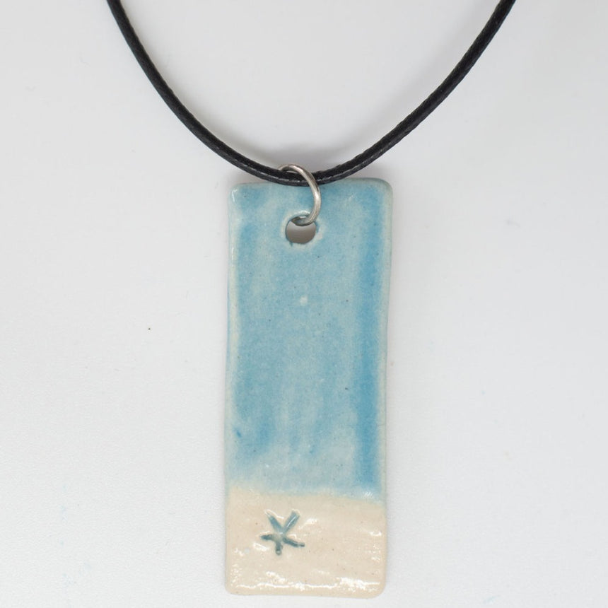 Tropical Beach With Starfish Pottery Pendant