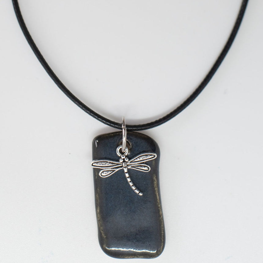 Dragonfly Over Deep Ocean Pottery Pendant