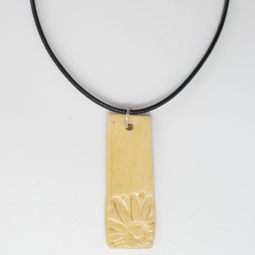 Happy Sunflower Rectangle Pottery Pendant