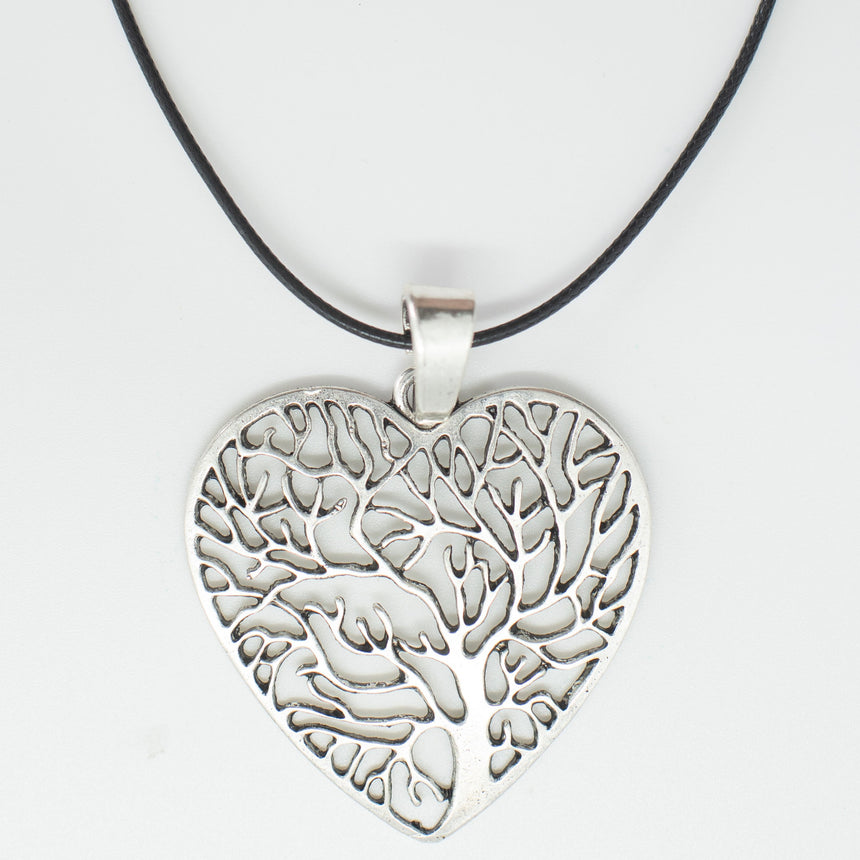 Tree Of Life Silver Heart Pendant