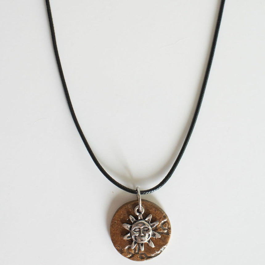 Sunshine Over Copper Lace Pottery Pendant