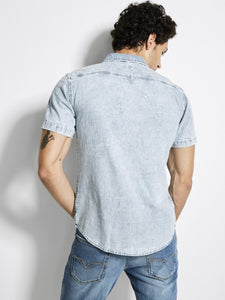 S/S SLIM DENIM SHIRT W/ ZIP