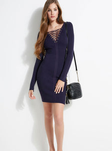 LS SELBY LACED FRONT RIB DRESS