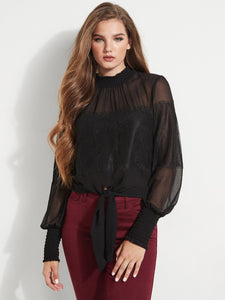 LS TAMAR LACE MIX TIE TOP