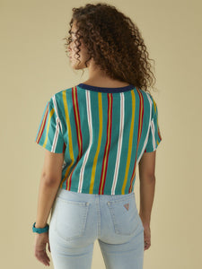 GO SS TEAL PARTY CROPPED TEE