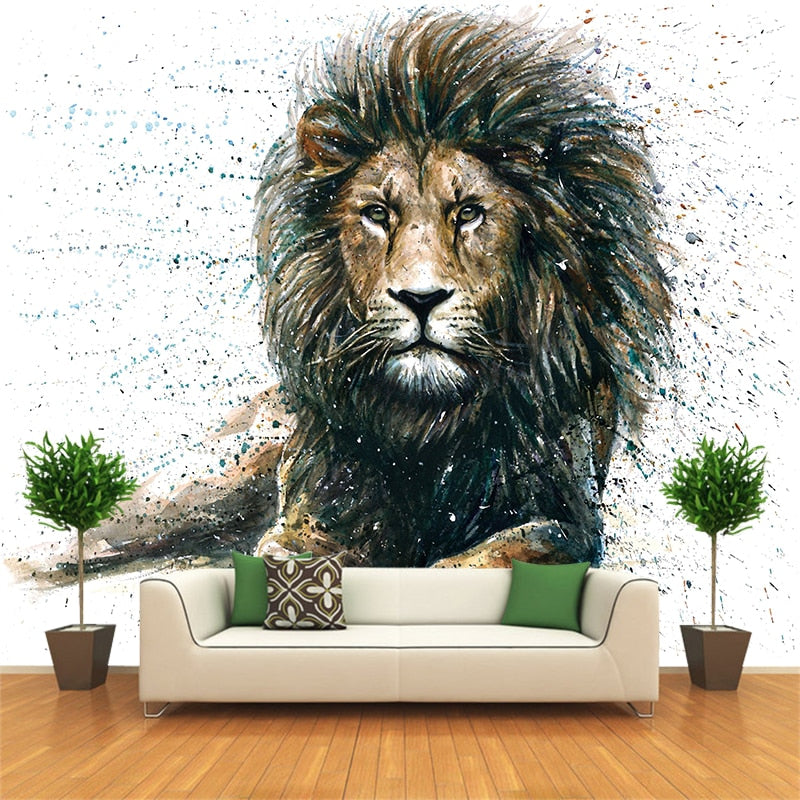 Amazing Animal Lion Custom Photo Canvas Wall Paper Wall Mural Backdrop Wallpaper Living Room Bedroom