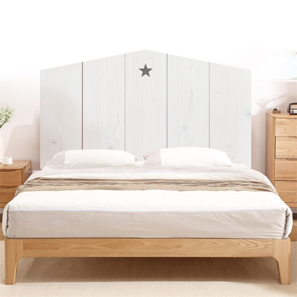 White Wood Grain Headboard Sticker Self-adhesive Air-Release Wall Sticker