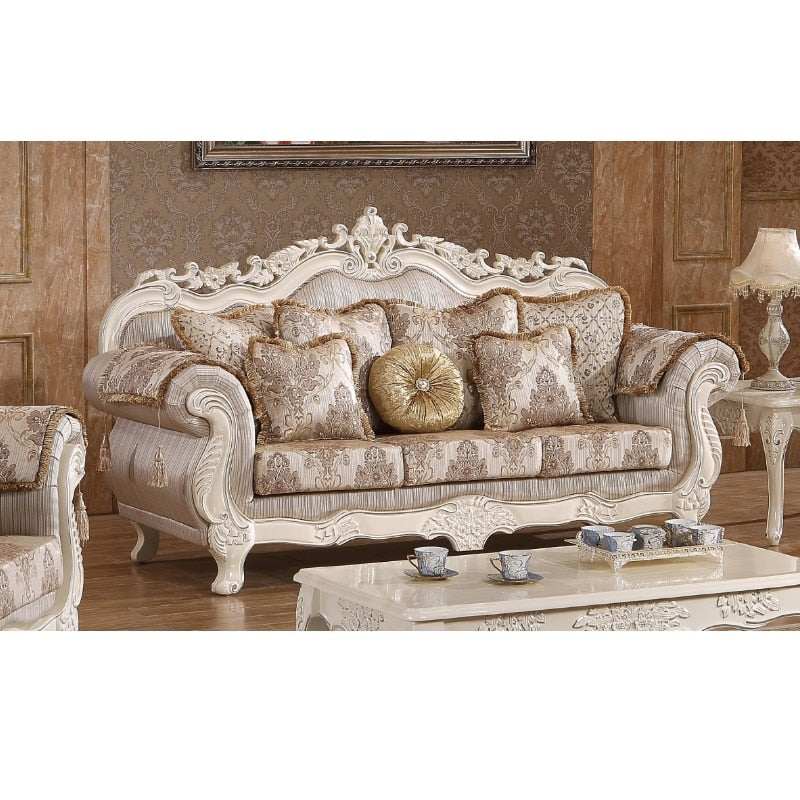 Wooden fabric sofa za kisasa set luxury WA552