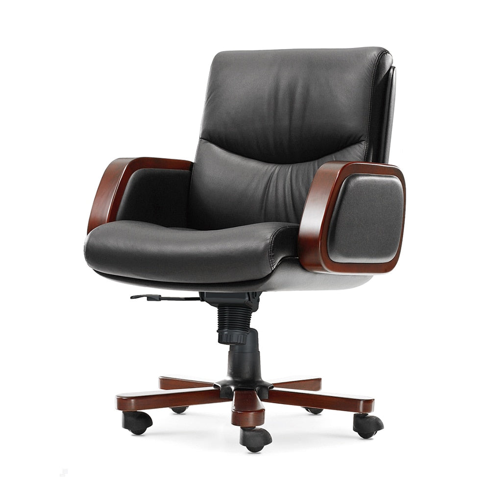 Wood Armrest Executive Chair Genuine Leather Reclining Computer Chairs