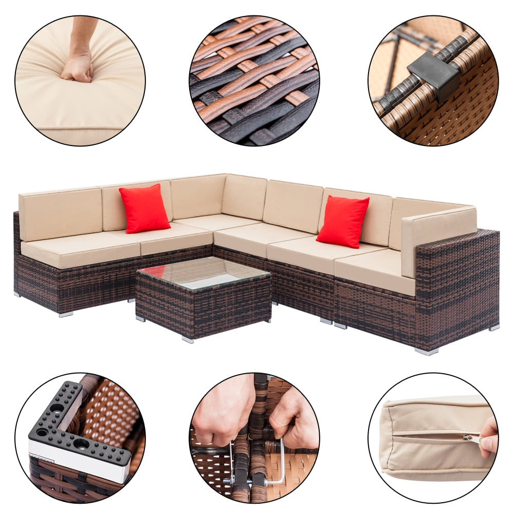 Fully Equipped Weaving Rattan Sofa Set with 2pcs Corner Sofas & 4pcs Single Sofas