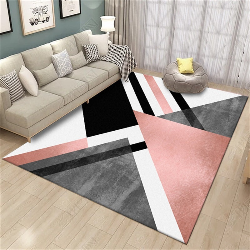 Bubble Kiss Nordic Style Heavy Metal Area Rugs For Living Room Kids Room Carpet Black Geometry